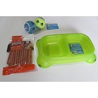 VOLT-X Doggie Bundle Of A 2 Section Green Pet Bowl, Dog Snacks-Canine Prime Munchy Chews & Toy Balls