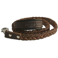 Dean And Tyler Comfort Braid Leather Leash, Brown 4-Feet By 3/4-Inch Width With Black Padding And Stainless Steel Hardwa
