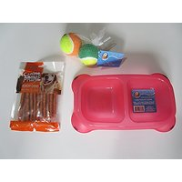 VOLT-X Doggie Bundle Of A 2 Section Red Pet Bowl, Dog Snacks-Canine Prime Munchy Chews & Toy Balls