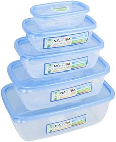 Nayasa Gold Dust Airtight  - 1800 ml, 1100 ml, 680 ml, 300 ml, 150 ml Polypropylene Multi-purpose Storage Container (Pack of 5, Blue, Clear)