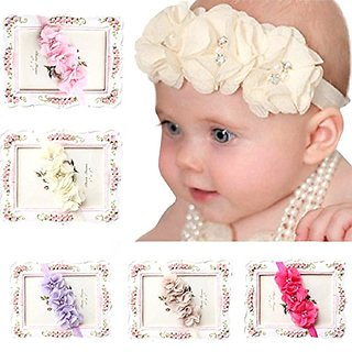 FEITONG(TM) 5PC Babys Girls Elastic Headband Chiffon Flower Photography Headbands