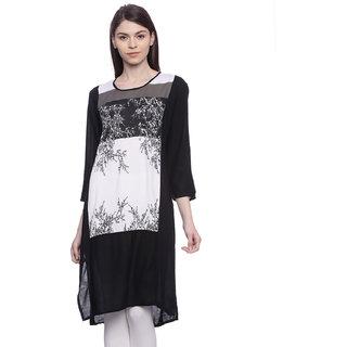 Mytri Black  Printed Rayon 3/4th Sleeves   Kurta