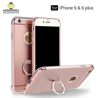 iPhone 6s Plus case, WOOCON 3 in 1 Ultra Thin and Slim Design Shockproof Plating Metaated Premium With Ring Holder Phone