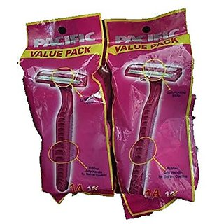 Pacific Twin Blade Disposable Razor with Comfort Strip-2 Packs of 14 (Total 28 Razors)
