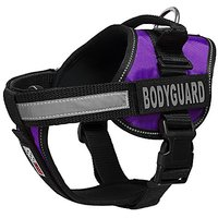 Dogline Unimax Multi-Purpose Vest Harness For Dogs And 2 Removable Bodyguard Patches, X-Large, Purple