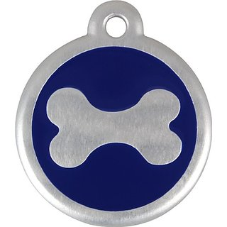 Red Dingo QR Collar Tag, Bone, Small, Blue