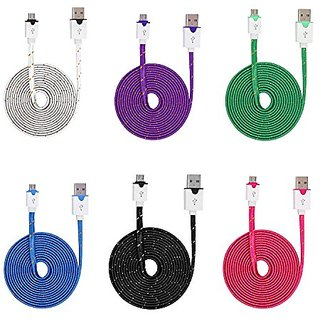 6Pack 3M 10FT Extra Long Extended Flat Noodle Fiber Braided Micro USB V8 Data Sync Charging Cable Cord For for Samsung H