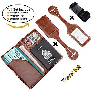 XeYOU Leather Purse Travel Wallet & Passport Holder Securely Holds Passport,Business Cards Credit Cards Cover with 2 Mat