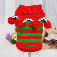 Topicker Christmas Colorful Pet Dog Strip Sweater Cozy Pet Clothes Pet Coat For Small Dog ,Medium Dog,Large Dog,Red&Gree