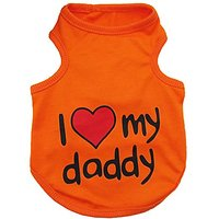 Small Pet Dog I LOVE MY DADDY MOMMY Cotton T- Shirt Vest Summer (Orange, M)