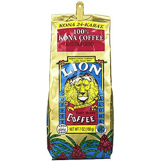 LION Coffee 100% 24-Karat Medium Roast Kona Coffee, Ground, 0.44 Pound