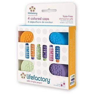 Lifefactory Solid Baby Bottle Colored Cap Set 4-pack