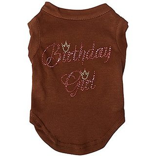 Mirage Pet Products 10-Inch Birthday Girl Rhinestone Print Shirt for Pets, Small, Brown