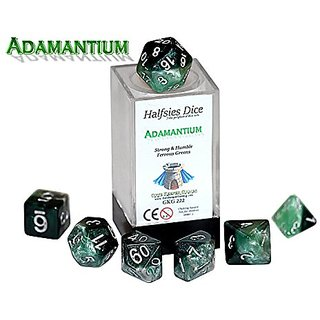 Adamantium Halfsies Dice - 7 die polyhedral rpg gaming dice set - Strong & Humble Ferrous Greens