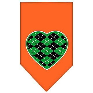 Mirage Pet Products Argyle Heart Green Screen Print Bandana for Pets, Small, Orange