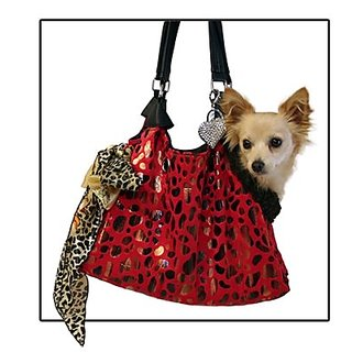 Pet Flys Red with Animal Foil Runaround Pet Carrier Tote
