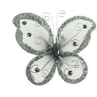 Party Favors Plus 24 Silver Organza Nylon Wire Butterfly Wedding Arts And Crafts Decorations 2 Big