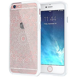 iPhone 6 Plus, iPhone 6s Plus Case, True Color White Ethnic Mandala Printed on Clear Transparent Hybrid Cover Hard + Sof