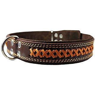 High Quality Genuine Leather Braided Dog Collar, Brown 1.6