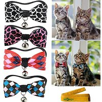 Cool Gentle Stylish Wild Adjustable Cat Dog Rabbit Pet Cloth Bowknot Collar Bow Tie With Alloy Bell For Small Cats Kitte