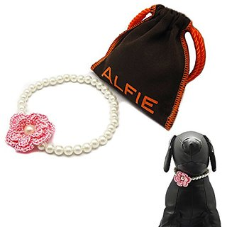 Alfie Pet by Petoga Couture - Estee Floral Pearl Necklace for Dogs and Cats with Fabric Storage Bag, Size: Medium