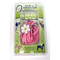 Coastal Pet Li`l Pals Adjustable Pink Dog Harness (10-14 Girth) & Daisy Leash Combo Pack