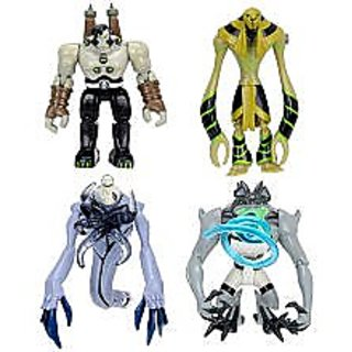 Ben 10 Exclusive 4 Inch Action Figure 4Pack Set #96252 Ghostfreak, Benwolf, Benmummy Benvicktor