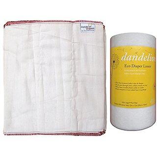 Dandelion Diapers 100% Organic Cotton DSQ Prefolds Dozen + 1 Roll Dandelion Diapers Ingeo Diaper Liners (200-sheet) - Si