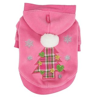 Pinkaholic New York Festive Hoodie for Dogs, Small, Pink