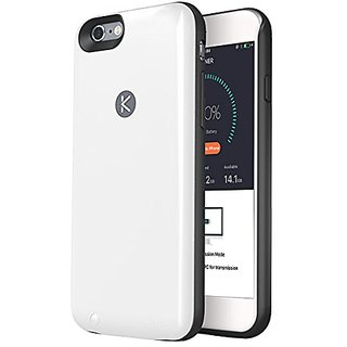 KUNER Battery Case for iPhone 6/6s (2,400mAh) with Built-in 16GB Storage, White