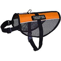 Dogline MaxAire Multi-Purpose Mesh Vest For Dogs And 2 Removable Therapy Dog Patches, Large, Orange