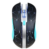 AULA Spirit Wired USB Gaming Mouse Optical Engine LED Lighting Mouses For Computer,6 Buttons 4000 DPI Black