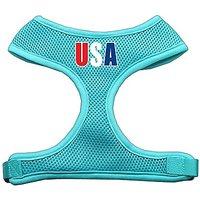 Mirage Pet Products USA Star Screen Print Soft Mesh Dog Harnesses, X-Large, Aqua