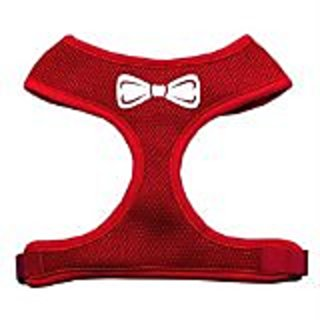 Mirage Pet Products Bow Tie Screen Print Soft Mesh Dog Harnesses, Small, Red