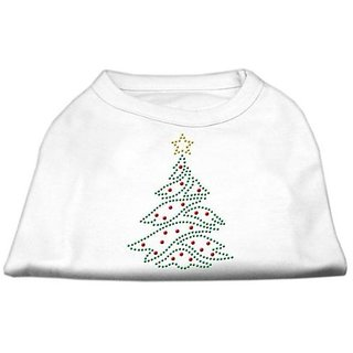 Mirage Pet Products 10-Inch Christmas Tree Rhinestone Print Shirt for Pets, Small, White