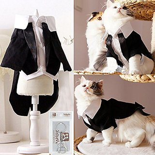 iPet Handsome Prince Cat Bridegroom Wedding Tuxedo Faux Twinset Design Small Boy Dog Formal Attire Doggy Party Wear Pupp
