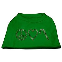Mirage Pet Products 20-Inch Peace, Love, And Candy Canes Print Shirt For Pets, 3X-Large, Emerald Green