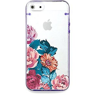 Vintage flower rose, floral clear bumper hard cover case for iPhone 5s / 5 (Purple)