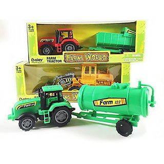 Toy Tractor 3 pack by Boley - Expand your toy car and truck collection with these farm tractors! (3 semi-articulated tra