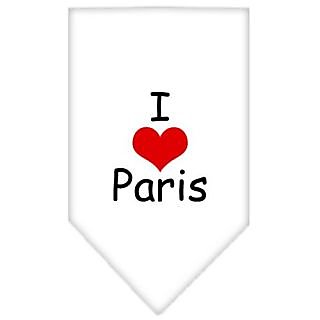 Mirage Pet Products I Heart Paris Screen Print Bandana for Pets, Large, White