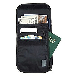 Jnjstella Travel Neck Pouch with RFID Blocking Passport Holder Wallet Black