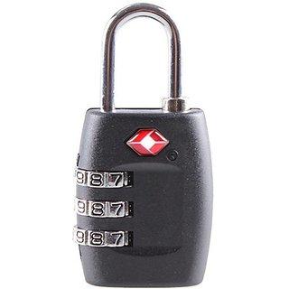 Jasit Mini TSA Approved 3 Digits Metal Combination Luggage Lock Coded Lock (Black, 1PC)