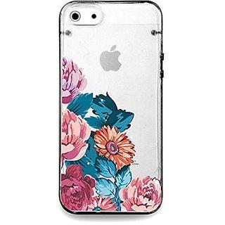 Vintage flower rose, floral clear bumper hard cover case for iPhone 5s / 5 (Black)