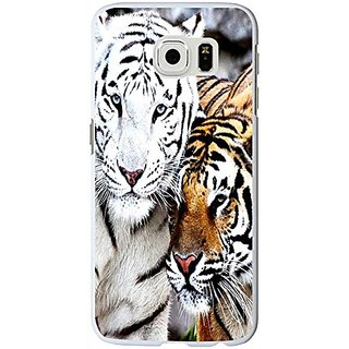 S6 Edge Case Cool Animal, Samsung Galaxy S6 Edge Case Animal White And Yellow Animal Couple Tpu Protective