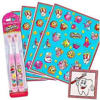 Shopkins Stickers & Toothbrush Set Kids Toddlers ~ 2 Shopkins Toothbrushes, 100 Reward Stickers and Bonus Toothbrush Sti