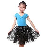 Anleolife Girl Black Tutu Skirts Sequins Ballet Dance Tutus Halloween Christmas Gift (black )