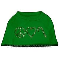 Mirage Pet Products 10-Inch Peace, Love, And Candy Canes Print Shirt For Pets, Small, Emerald Green