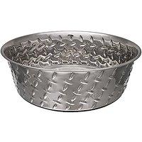 Loving Pets Diamond Plated Dog Bowl With Non-Skid Bottom, 1-Quart