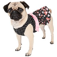 CueCue Pet CCPPlkDotHrtDressREDPNKM Polka Dot Hearts Dress With Removable Heart Bow, Black/Red/Pink