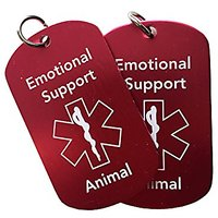 Emotional Support Animal ID Tags (2 Pack) - Red Double Sided - Best For Dogs, Cats, And Other Small Animals